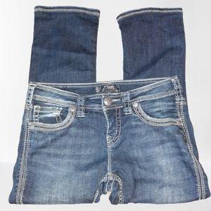 Silver Aiko Capri Denim Jeans